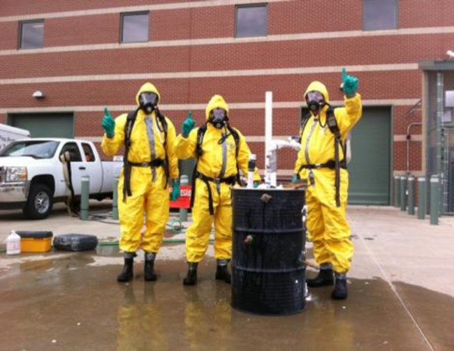 Students learn about hazardous waste disposal during a course hosted by OSU-Tulsa.