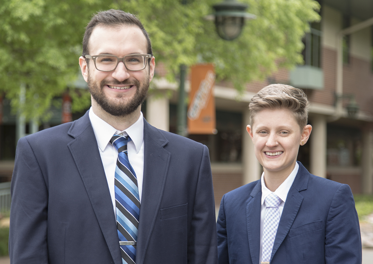 OSU-Tulsa doctoral students Brendon Glon, left, and Jess White plan to launch a mental health hotline for the LGBTQ community in Oklahoma.
