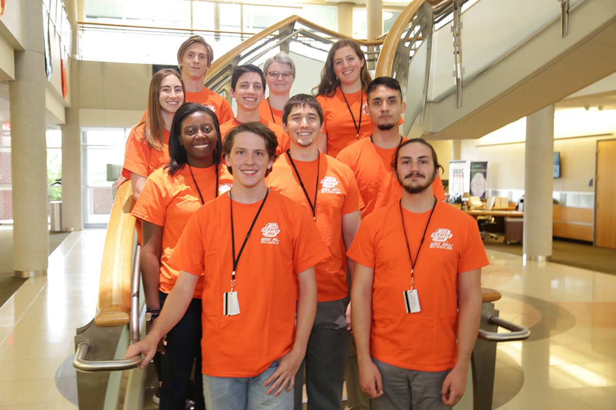 OSU-Tulsa's 2018 REU Fellows are from bottom left, Nicholas Nowak and Spencer Galluci; from second row left, Christine Brockman, Michael Rivera and Erik Perez; from third row left, Erin Wernick and James Gruich; and top row left, Christian Schaefer, Alyssa Curry and Kathryn Bartosik. Avery Slack is not pictured.