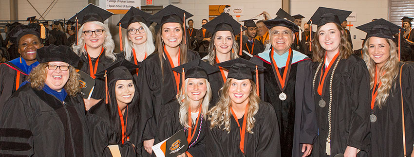 OSU-Tulsa Master of Science in Counseling students at graduation in 2017