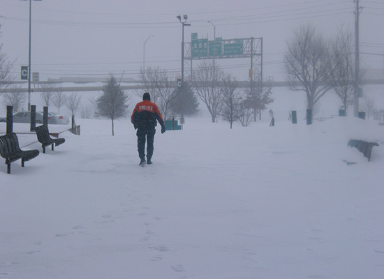 Sgt. Montie Burchett during a 2011 snow storm.
