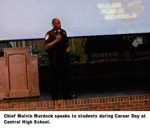 Chief Melvin Murdock speaks to students during Career Day at Central High School