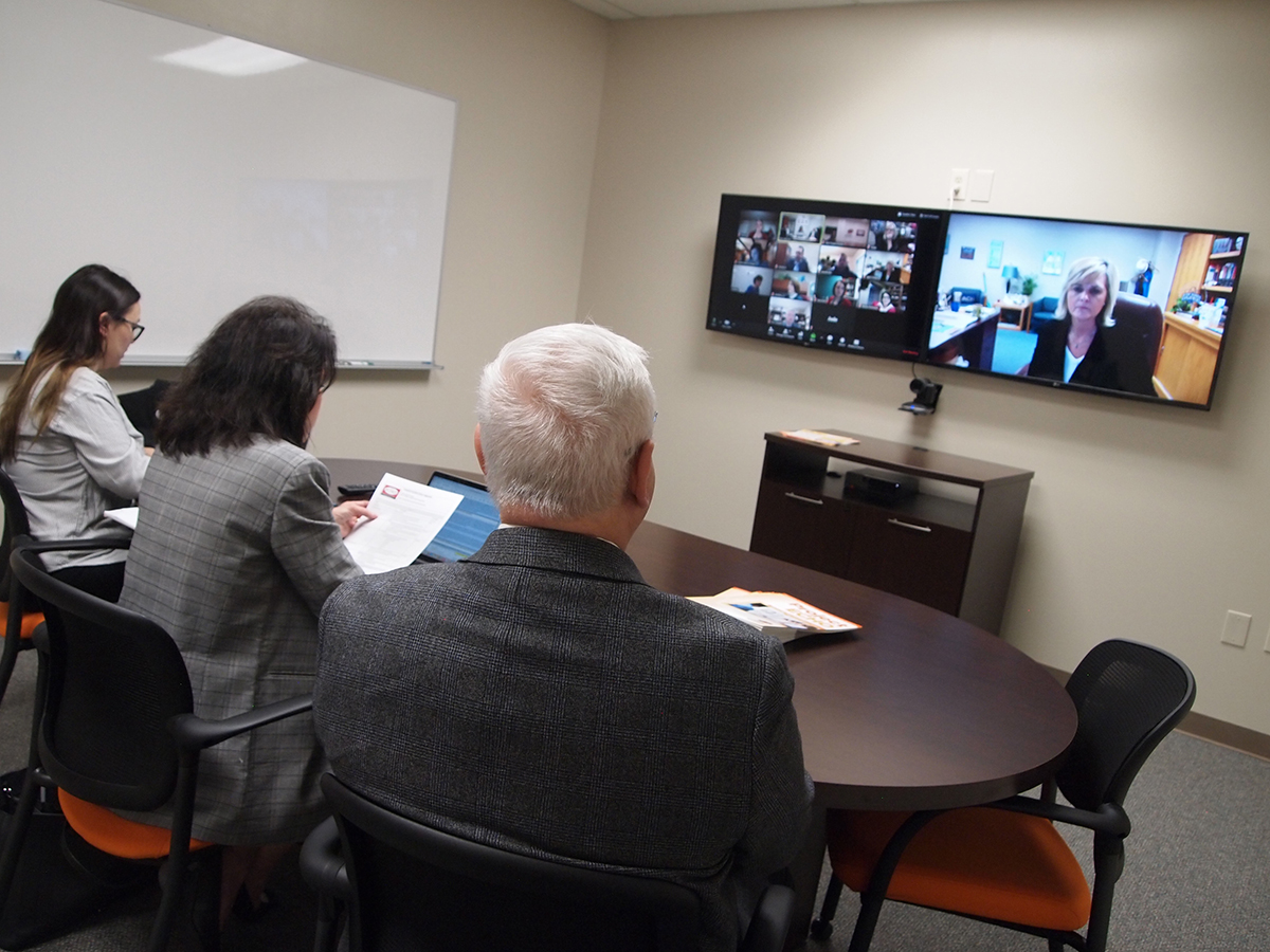 Jade Goodson, Project ECHO clinical coordinator, left, operates the TeleED virtual network alongside Dr. Katherine Curry, OSU associate professor and John A. And Donnie Brock Professor in Educational Leadership in Policy and Dr. Joe Johnson, Project ECHO medical director.