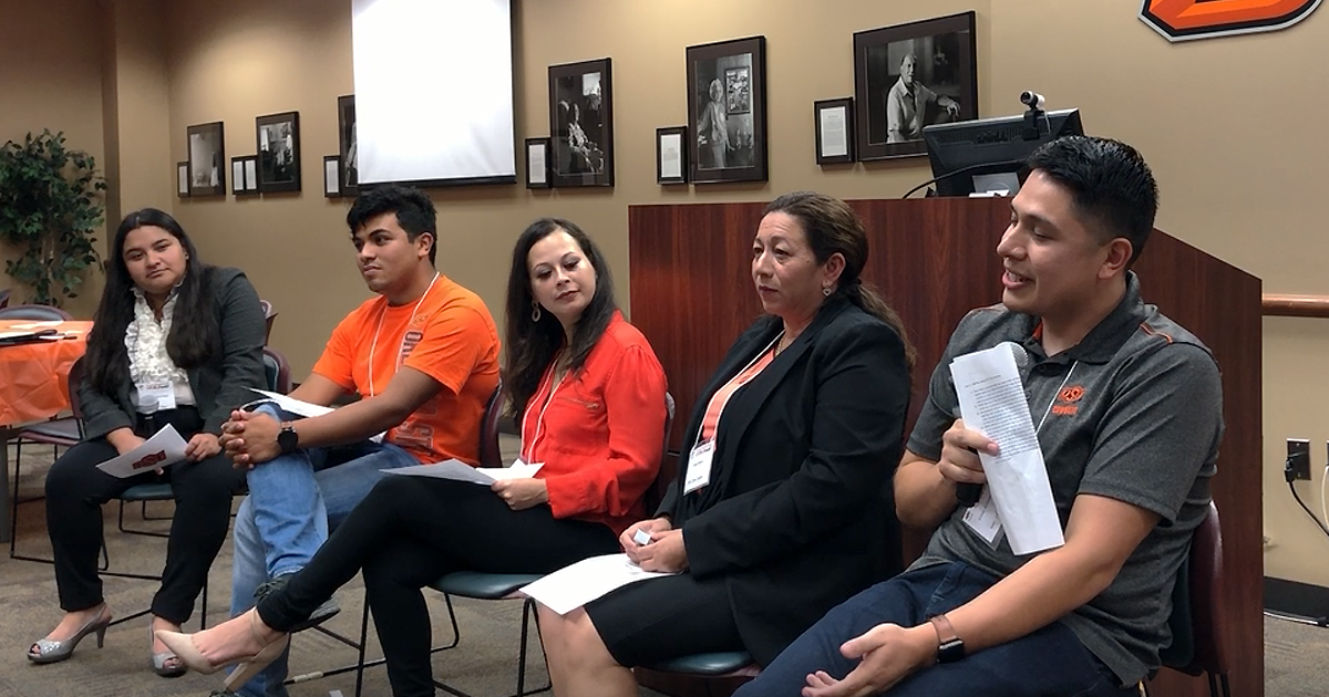 "Amairani Perez Chamu, left, moderated a student panel with Omar Lopez, Marisol Pimentel, Bessy Valera and Elber Arroyo at OSU-Tulsa's ""Ir a la universidad - ¡Sí Se Puede!"" conference on Oct. 3."