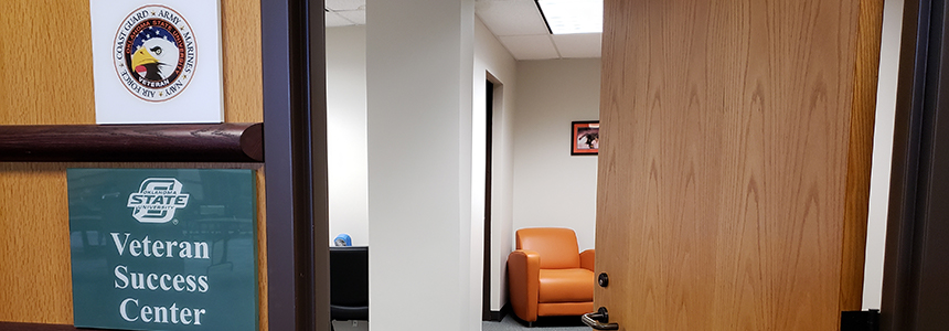View through the door of the OSU-Tulsa Veteran Success Center