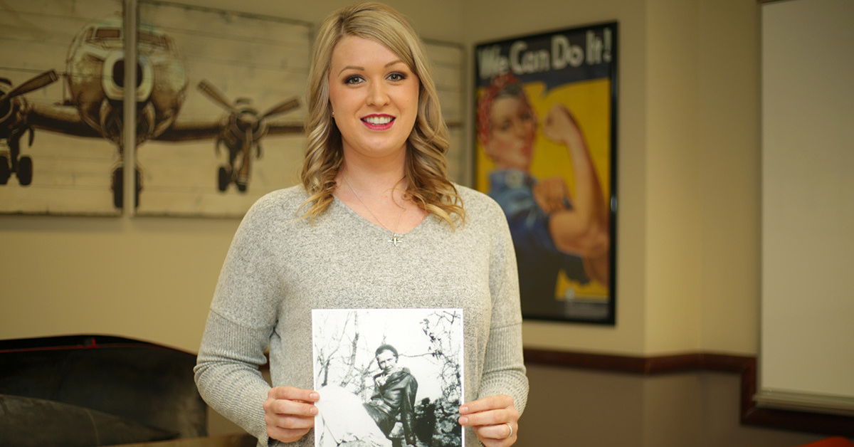 Dr. Mallory Casebolt holds photo of her great-grandmother.
