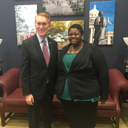 Alexandria Ware, right, meets U.S. Sen. James Lankford, R-Okla., during her congressional internship.