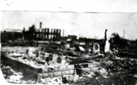 An image showing some destruction of Greenwood as the result of the Tulsa Race Massacre. Courtesy of Oklahoma State University-Tulsa Library Special Collections and Archives.