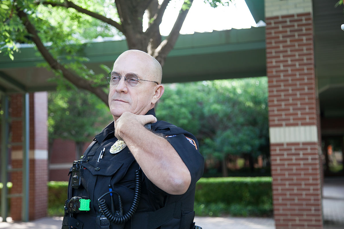 OSU-Tulsa Police Officer Jack Robison patrols campus and the surrounding community.