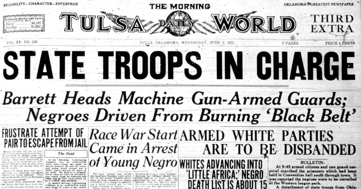 The Tulsa World front page from June 1, 1921 highlights how media messages at the time worked to shaped public opinion around the Tulsa Race Massacre.