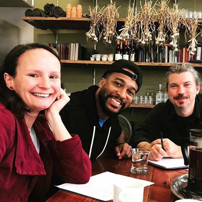 "Dr. Lindsey Smith (from left) teaching artist Clemonce Heard and chef Matt Owens plan a menu based on Heard's poetry for the ""Poets' Dinner"" fundraiser."