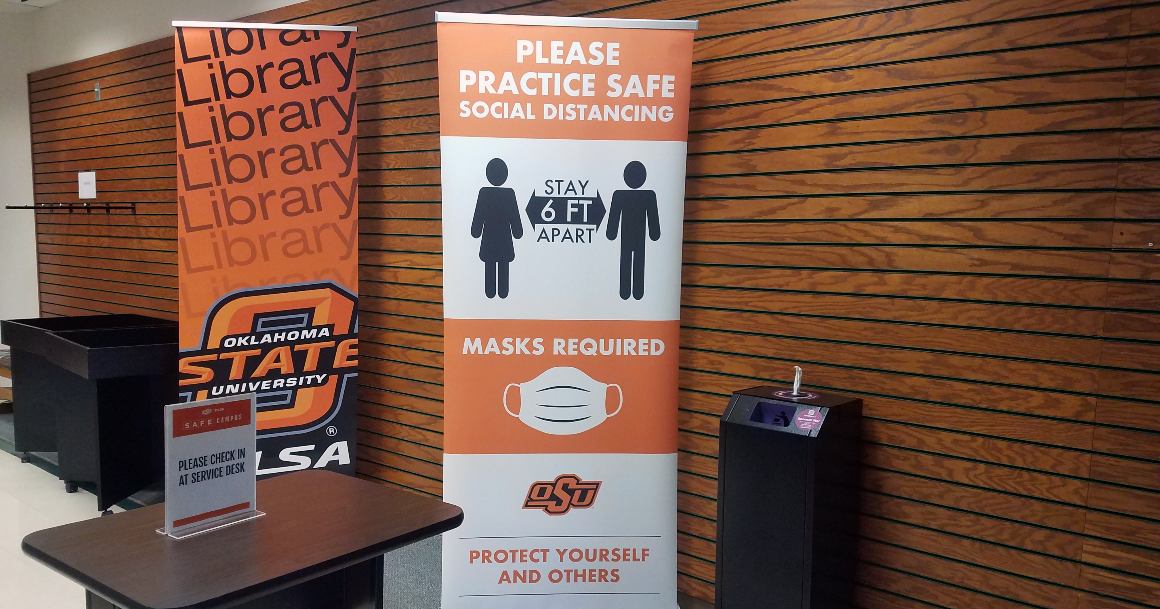 Social distancing, face masks and aggressive cleaning practices remain key to safety of students, staff and faculty in the OSU-Tulsa Library and anywhere on campus.
