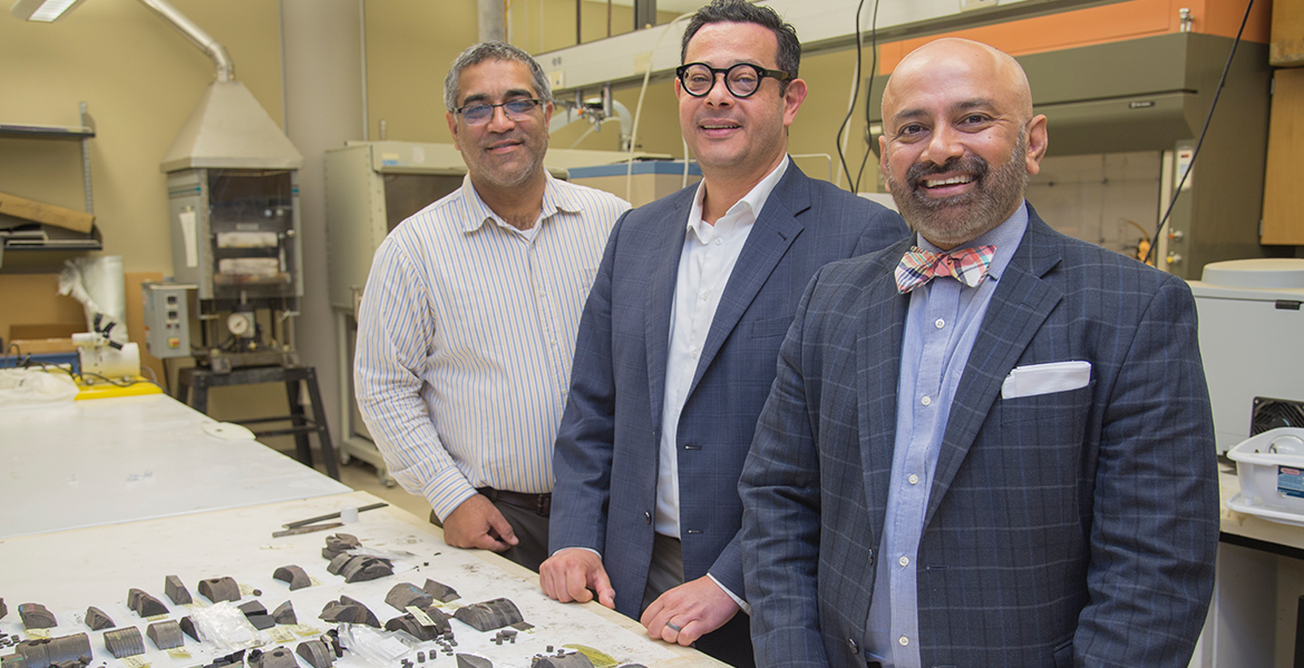 Dr. Pankaj Sarin, left, Dr. Rami Younis and Dr. Raman Singh in a lab in the Helmerich Research Center at OSU-Tulsa.