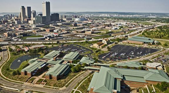 Aerial photo of OSU-Tulsa campus