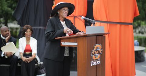 Dunn speaks at the Ellis Walker Woods memorial dedication.