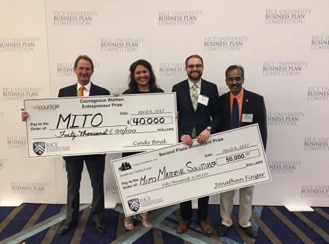 MITO Material Solutions placed second in the President's Cup for Creative Interdisciplinary on Dec. 6 in Stillwater. Dr. Richard Gajan, Thoma Family Clinical Assistant Professor, left, celebrates with MITO teammates Haley Keith, her husband Kevin Keith, both OSU graduates, and co-principal investigator Dr. Ranji Vaidyanathan, OSU-Tulsa Varnadow Professor of Materials Science and Engineering, on their second-place win in the Rice Business Plan Competition last spring.