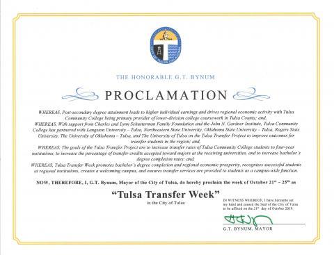 "Proclamation by Tulsa Mayor G.T. Bynum declaring the week of Oct. 21-25 as ""Tulsa Transfer Week."""