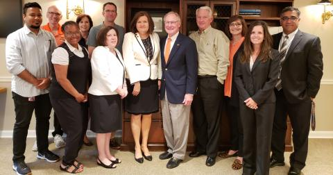 Dr. Pamela Fry poses with the OSU-Tulsa President Search and Screening Committee after her selection as president.