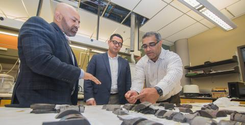 Dr. Raman Singh, Dr. Rami Younis and Dr. Pankaj Sarin conduct researchto develop an environmentally sustainable process for recovering oil and natural gasfrom unconventional shale resources in a lab at the Helmerich Research Center at OSU-Tulsa.