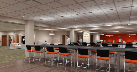 Preliminary concept rendering of the OSU-Tulsa Student Union.