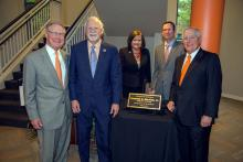 OSU President Burns Hargis, left, OSU-Tulsa President Emeritus Howard Barnett, OSU-Tulsa President Pamela Fry, OSU-Tulsa Trustees Chairman Brett Lessley and Oklahoma State Regent for Higher Education Jay Helm at the dedication ceremony for the OSU-Tulsa courtyard fountain.