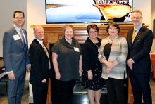 Susan Johnson, first from right, recently welcomed the Tulsa Global Alliance to OSU-Tulsa at a reception. Also pictured (L to R): TGA Vice Chair Kyden Creekpaum, Vice President of Programs and TGA Interim Director Bob Lieser, TGA Board Chair Alisa Dougless, Sister City Program Coordinator and TGA Administrator Cathy Izzo, OSU School of Global Studies and Partnerships Dean Randy Kluver.