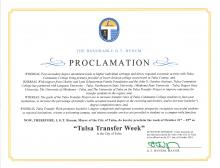 "Proclamation by Tulsa Mayor G.T. Bynum declaring the week of Oct. 21-25 as ""Tulsa Transfer Week."""