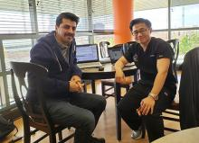 """Former OSU Ph.D. student Dr. Behrooz Davazdahemami (left) worked with researcher and ER physician Dr. Paul Peng on using data to better understand the problem of """"bounce back"""" among hospital ER patients."""