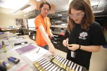 Graduate student Lynsey Baxter, right, works with REU intern Nick Nowak checking and recording research results.