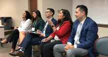 Dr. Claudia Maldonado Otto, not pictured, moderated a panel with Jania Wester, Christina Da Silva, Moises Echeverria, Jessica Lozano and James Sanchez